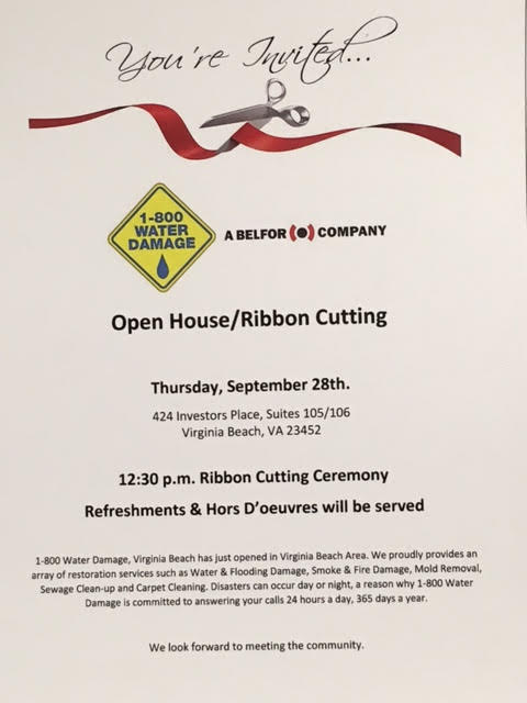 INVITE TO RIBBON CUTTING and OPEN HOUSE FOR 1-800 WATER DAMAGE, VIRGINIA BEACH
